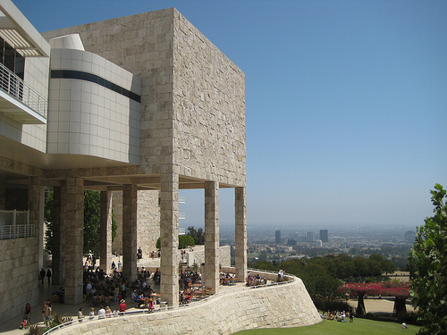 A view of the Getty Center in Los Angeles, designed by Richard Meier, with the skyline of Los Angeles in the background.