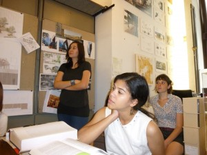 Left to right: Estfania Acosta, Quizayra Gonzales, Laura Belik in Marpillero Pollak Architects studio.