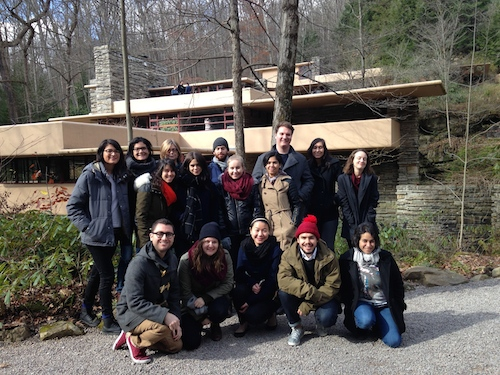 Parsons MA DS Students at Fallingwater. Back row, l to right: Laura Sanchez, Mae Wiskin, Susan Yelavich, Misha Volf, Olly Bolton, Estefania Acosta, Laura Wing; middle row: Micki Unterberg, Rachel Smith, Sonja Holopainen, Quizayra Gonzales; front row: James Laslavic, Gene Duval, Maggie Lin, Juan Pablo Pemberty, Veronica Uribe.