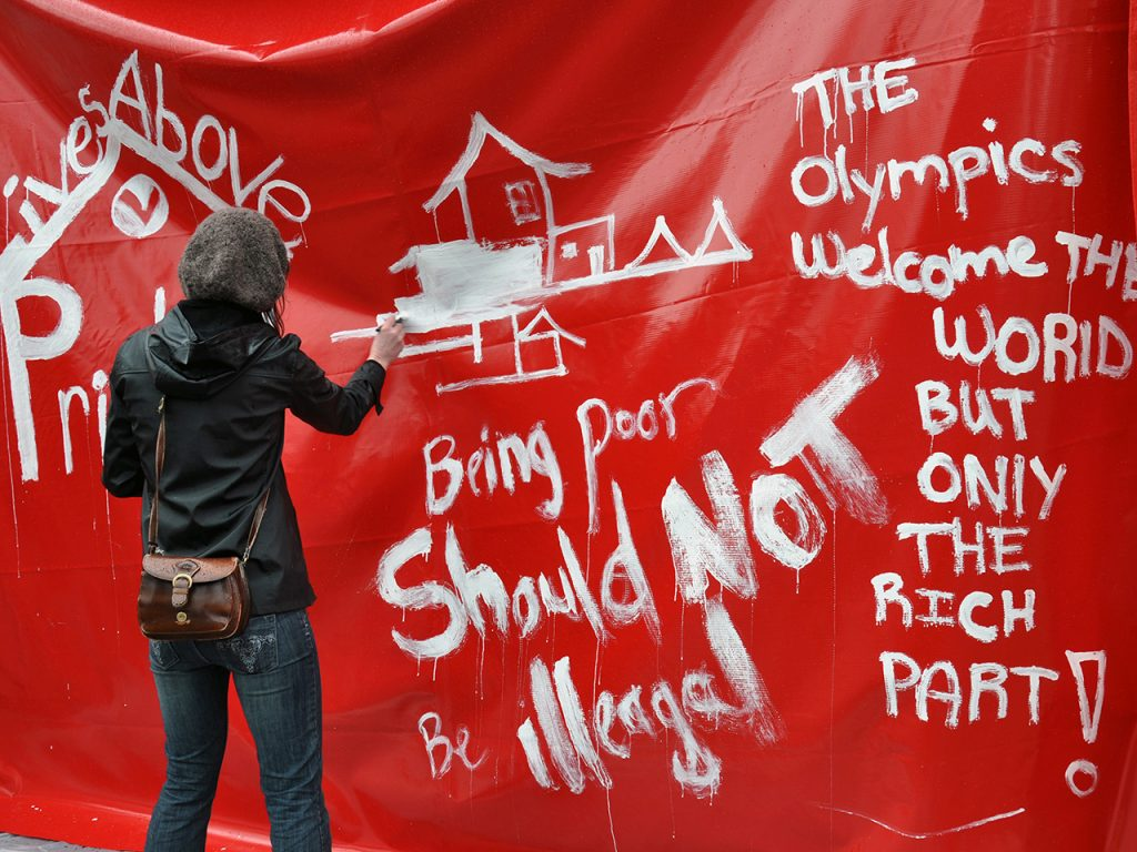 Red Tent Housing protest, LiveCity Downtown, Vancouver, February 10, 2010. Photograph by Stephen Hui.