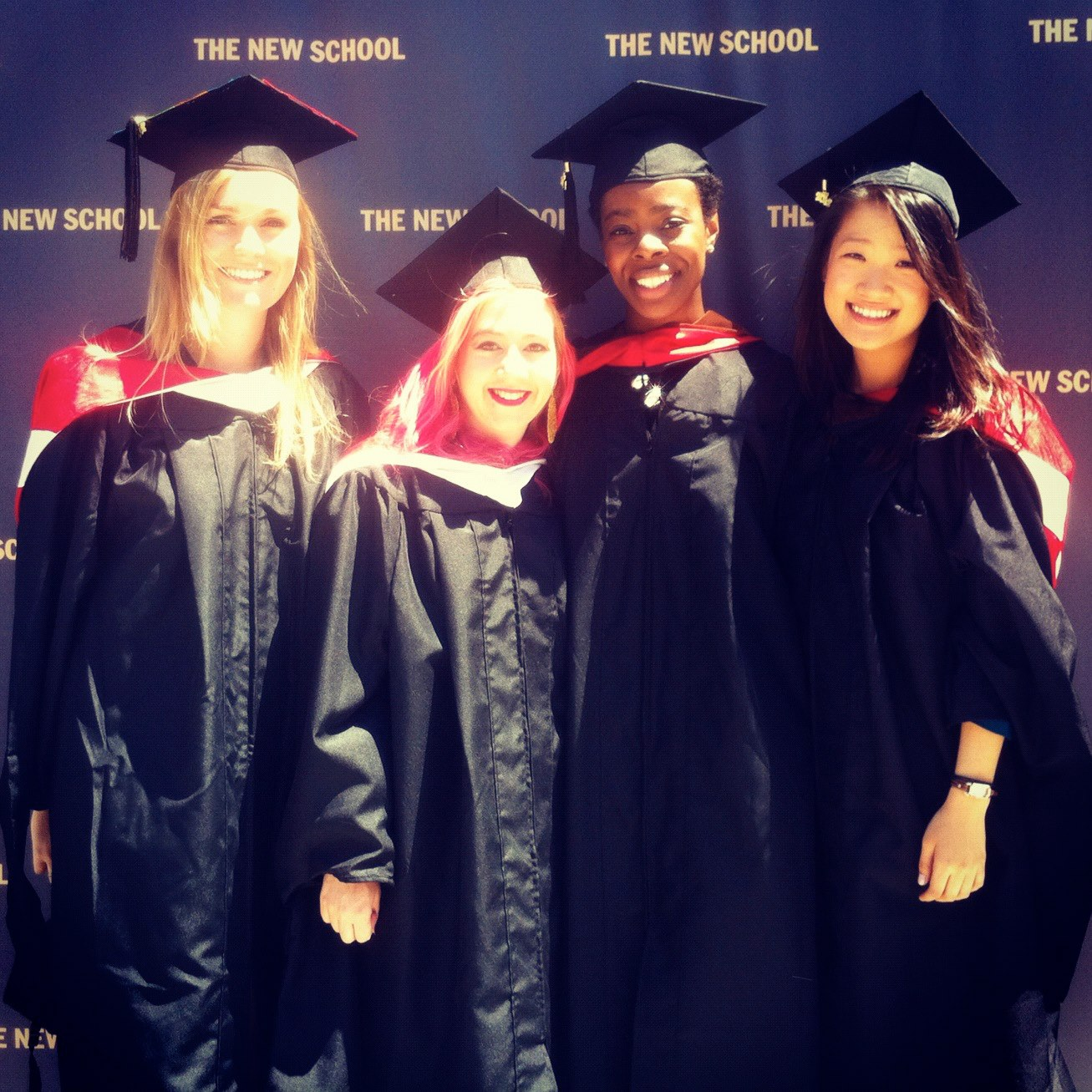 MA Fashion Studies alumni. From left: Lauren Downing Peters '12, Anya Kurennaya '12, Rachel Francois '12, and Nami Kim '12