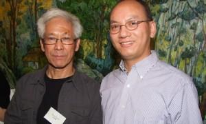 Curator Zhijian Qian with Artist Zhang Hongtu at Here And Now II