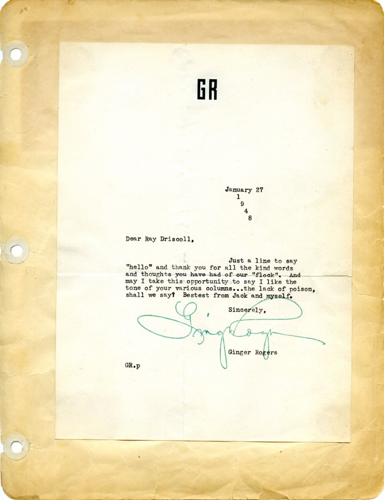 Ginger Rogers Letter