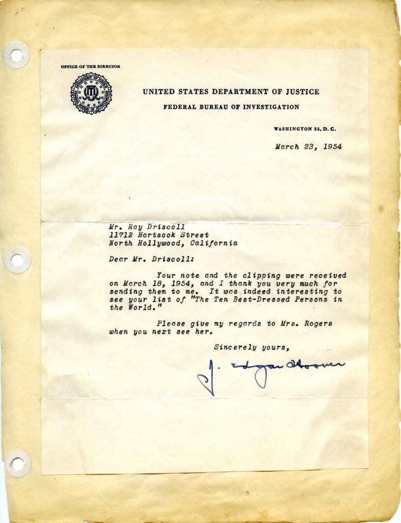 J Edgar Hoover Letter
