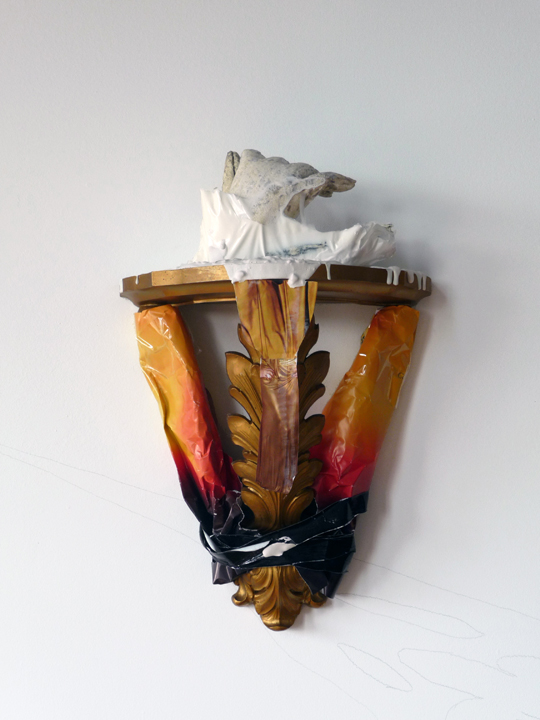Display (Tied), 2009, Plaster, wood, acrylic, paper