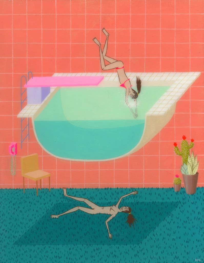 "Kristen Liu Wong I Can't Dive Acrylic on wood panel, resin 9 x 12"""