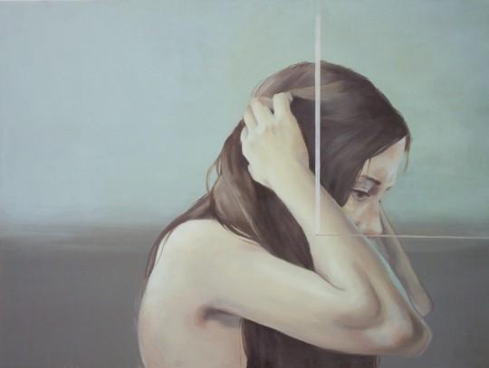 "So Yoon Kim Untitled Oil on wood 11 x 19.5"""