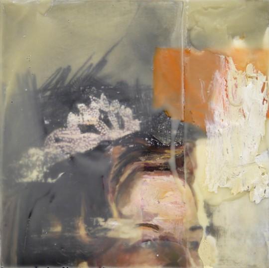 "Rachel Pontious Untitled -  Wedding Portrait 4 Oil, graphite, acrylic, encaustic on panel 12 x 12"""