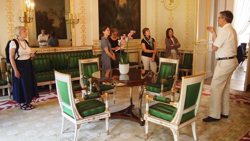 Sarah Lawrence's students at the Hotel Beauharnais, Rue de Lille,  with guest lecturer Dr. Ulrich Leben. Entrusted with the historical preservation of the interior and furnishings.  Dr. Leben used to teach regularly in the MA Program in the History of Decorative Arts and Design (2001-2009), and was appointed to the faculty of the Bard Graduate Center in 2010. He is also Associate Curator at Waddesdon Manor. Image courtesy of S. Lawrence.