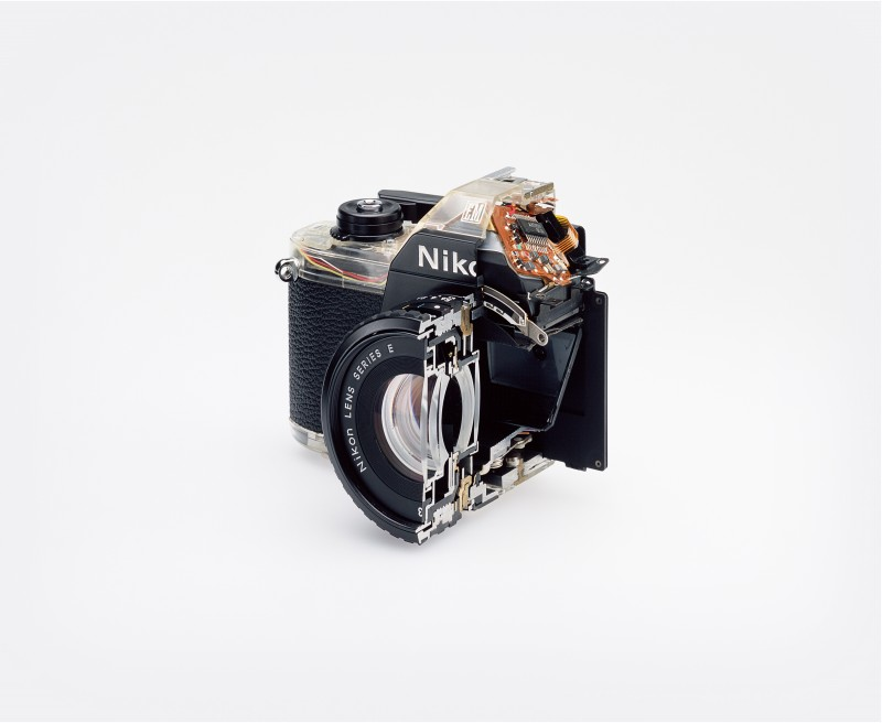 Photo courtesy of artist. Cutaway model Nikon EM. Shutter (2007).