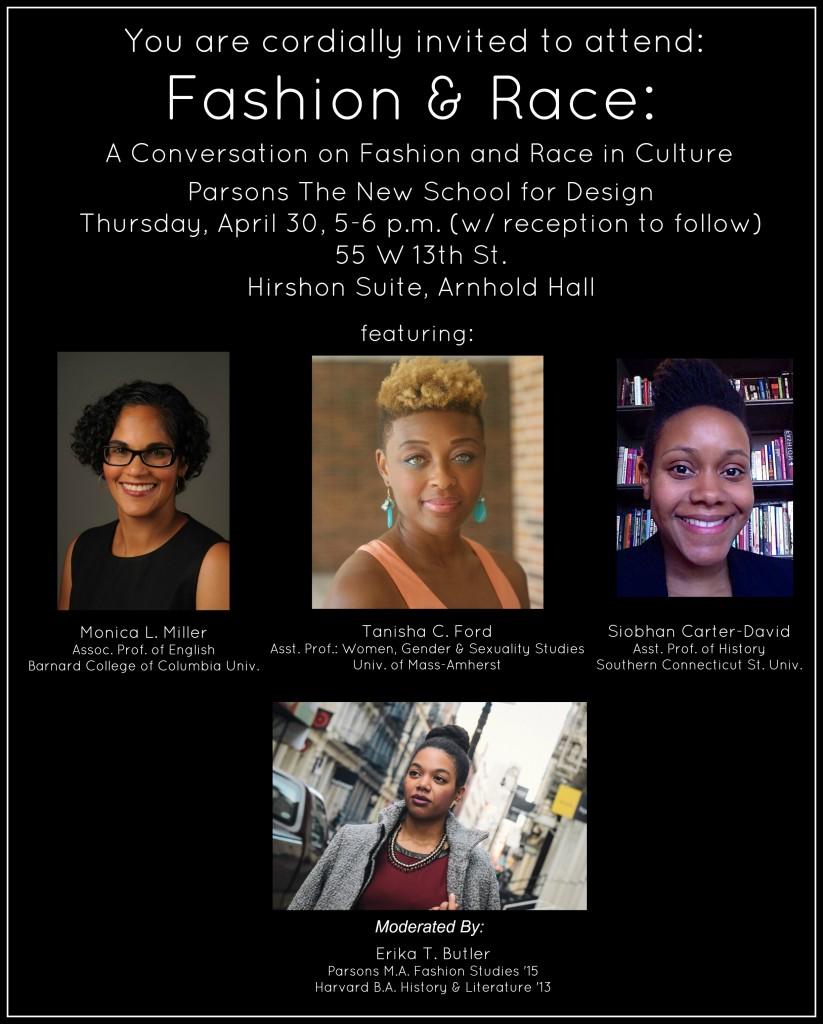 The official poster for Fashion & Race, coordinated by Erika Butler