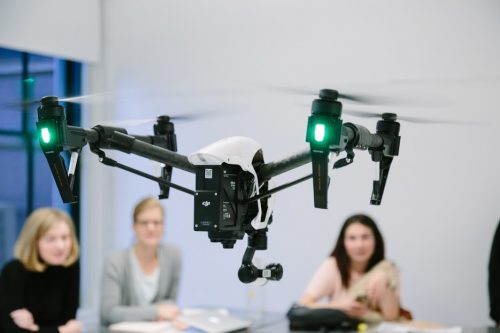"Drone flying in ""Research and Methods"" class presentation by Mehdi Salehi. Photograph by Mathew Mathews"