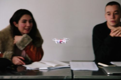 """Drone flying in """"Research and Methods"""" class presentation by Mehdi Salehi. Photograph by Mathew Mathews."""