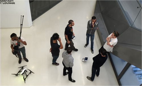 Group of students experimenting with drone photography in Medhi Salehi and Kristen Kersh's class. Photograph by Leticia Cartier Oxley.