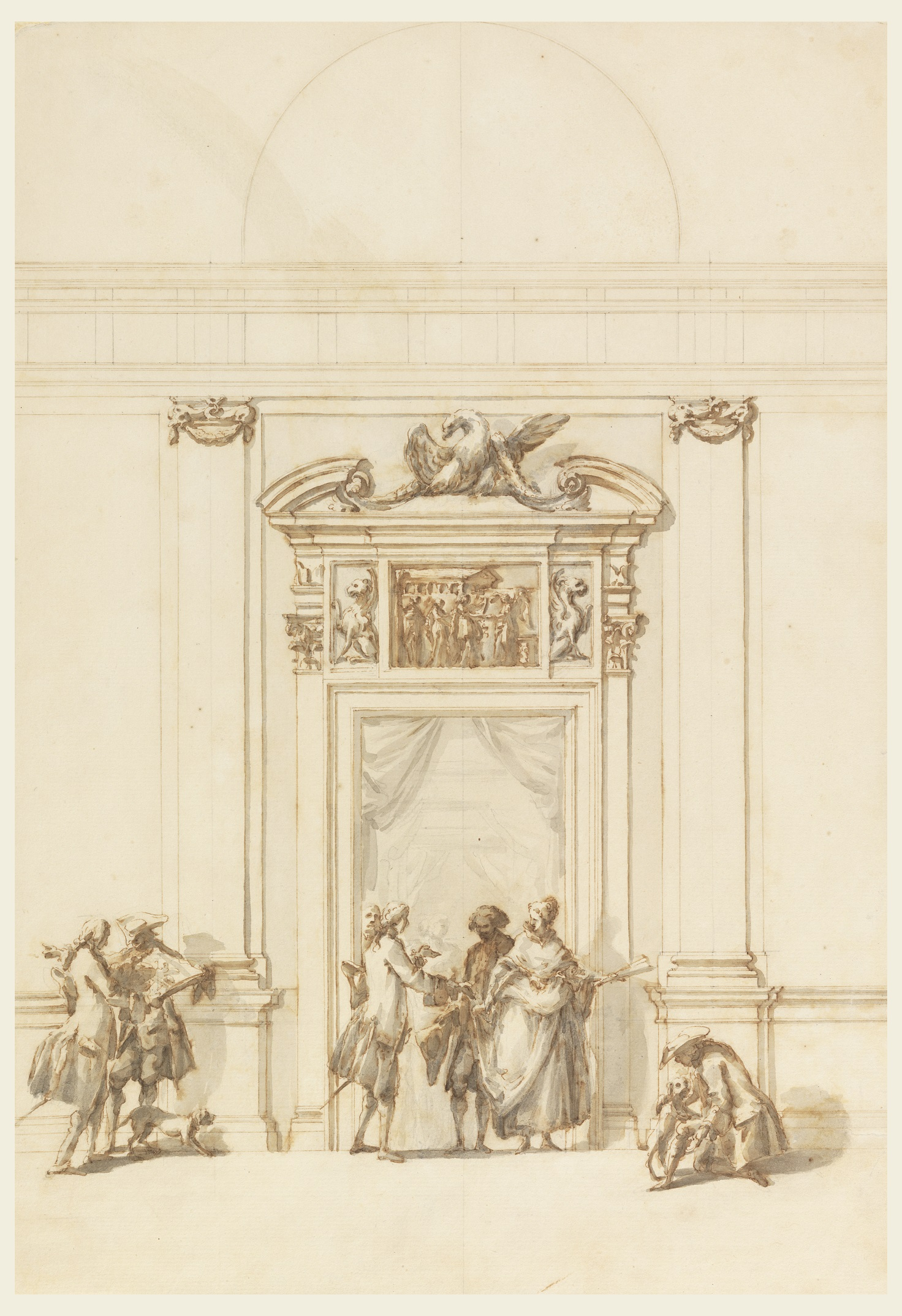 Drawing, Design for a Doorway in the Villa Albani, Rome, 1755-1756; Designed by Carlo Marchionni (Italian, 1702-1786); Pen and brown ink, brush with brown and grey wash, graphite on cream laid paper; 16 7/16 x 11 3/8 in. (417 x 289mm); Museum purchase through gift of various donors, 1901-39-2178; Cooper Hewitt, Smithsonian Museum; Matt Flynn © Smithsonian Institution.