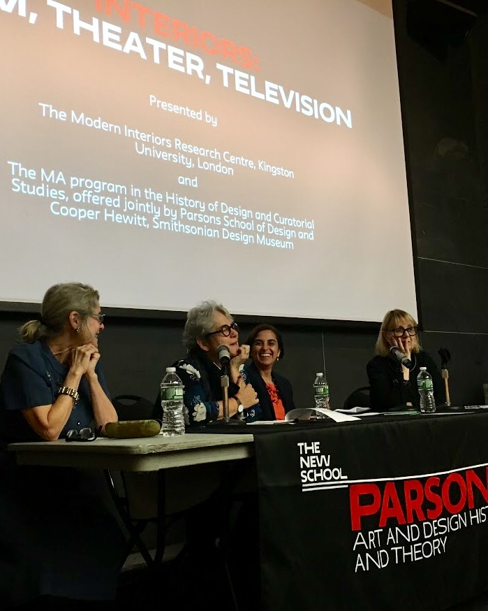 Marilyn Cohen, Alice T. Friedman, Sarah A. Lichtman, and Pat Kirkham in discussion with audience members at Interiors: Film, Theater, Television.